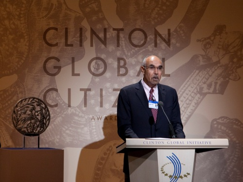 Dr. Jean Pape speaks at the Clinton Global Citizen awards ceremony in New York City