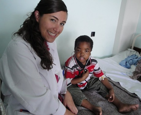 Dr. Christina Gagliardo, pediatrician, with a young patient at Bugando Medical Center in Mwanza, Tanzania