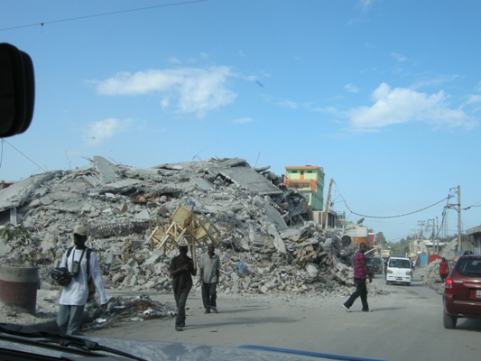 What was once a five-story building, is now a pile of rubble.