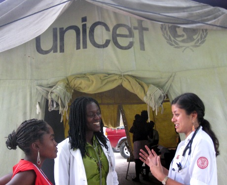 Jenna Devare (MD'13) (far right) surveyed illnesses from the GHESKIO tent city during the summer of 2010