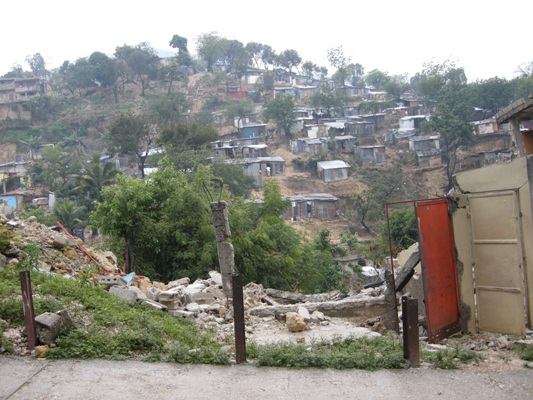 Looking up a hillside in Port au Prince