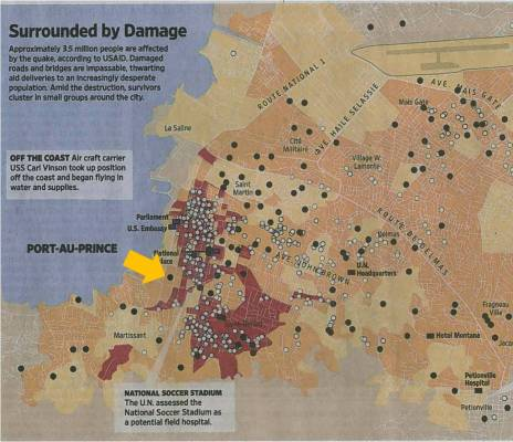 Schematic diagram of the destruction in Port-au-Prince (Courtesy of Wall Street Journal). The yellow arrow points to GHESKIO. The red areas represent the most affected areas.