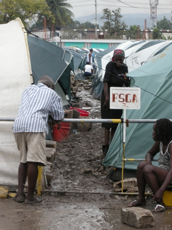 The rainy season is creating challenges for living conditions in tent cities
