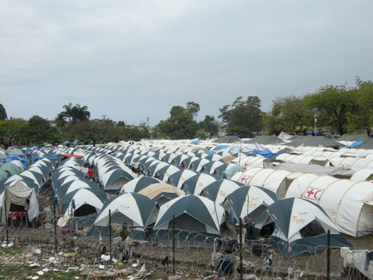 Each family in the GHESKIO camp now has a tent.