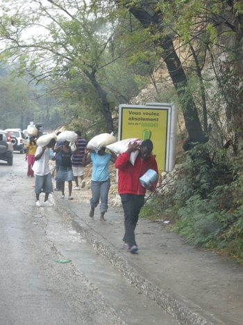People walk up the hill with sacks of food.